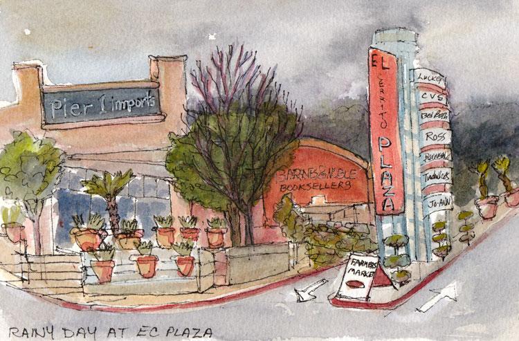 Rainy Day Plaza, ink & watercolor