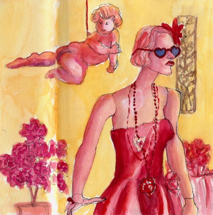 Valentine Window at Sala, Berkeley, ink & watercolor
