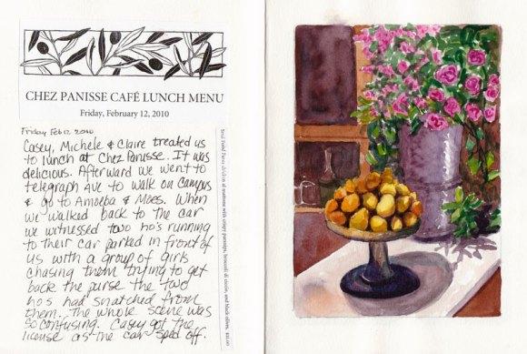 Chez Panisse still life as it appears in sketchbook