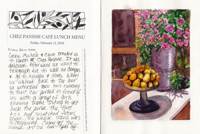 Chez Panisse still life as it appears in sketchbook