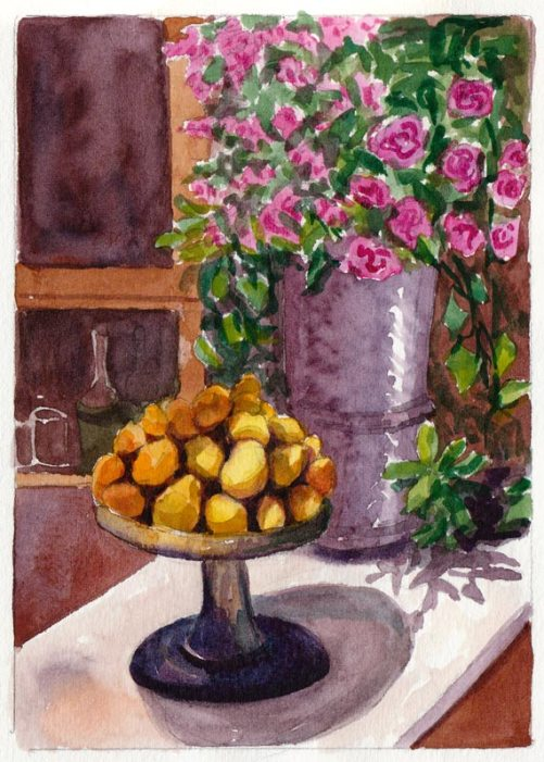 Chez Panisse Still Life, watercolor