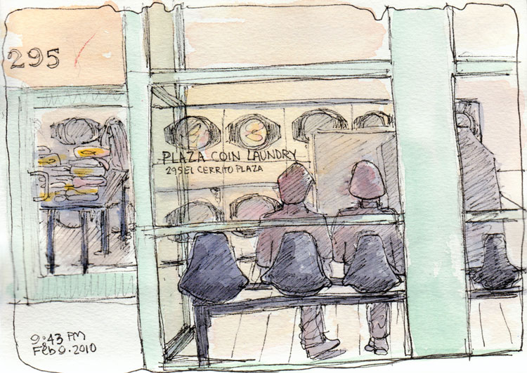 Plaza Coin Laundry, Ink & watercolor