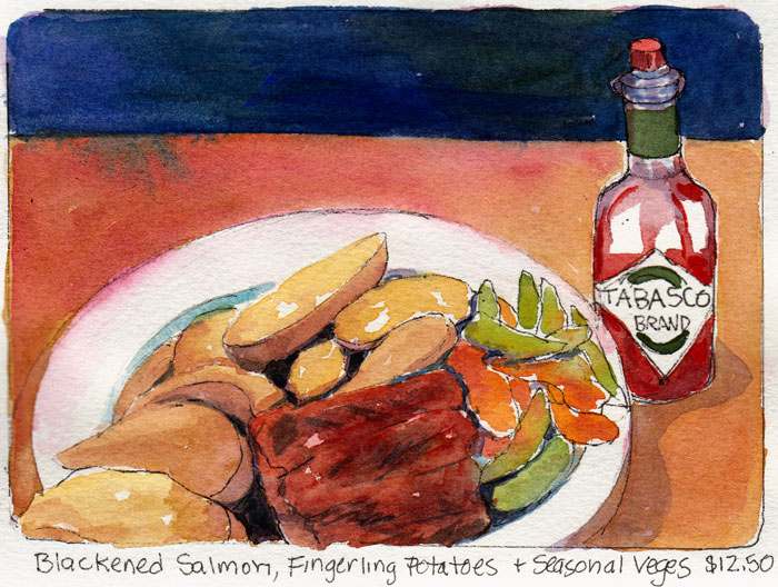 Blackened Salmon at Pyrramid Ale House, Ink & Watercolor