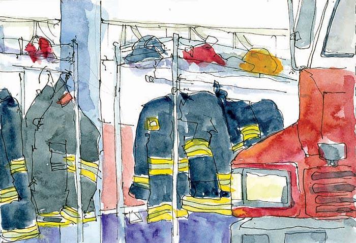 Firefighters' Jacket Rack