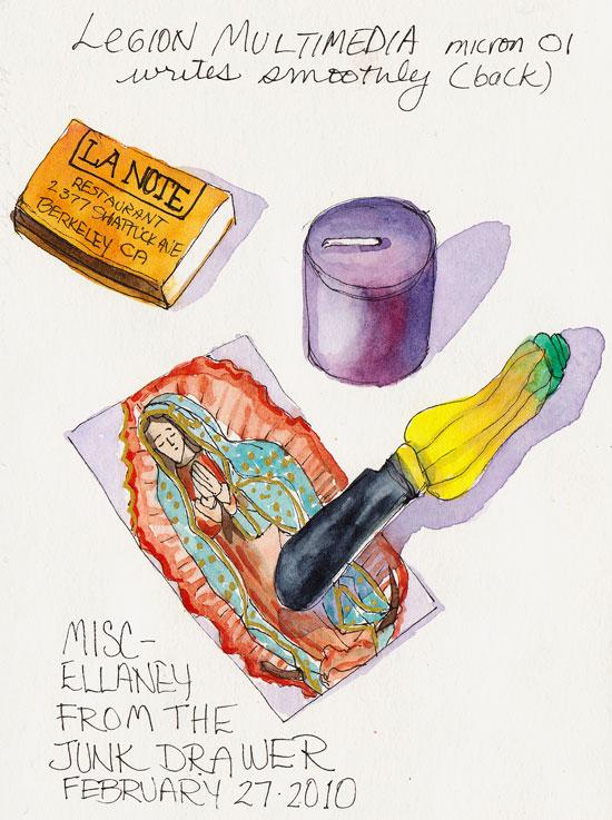 Junk Drawer #1, Legion Multi-Media Paper, ink & watercolor