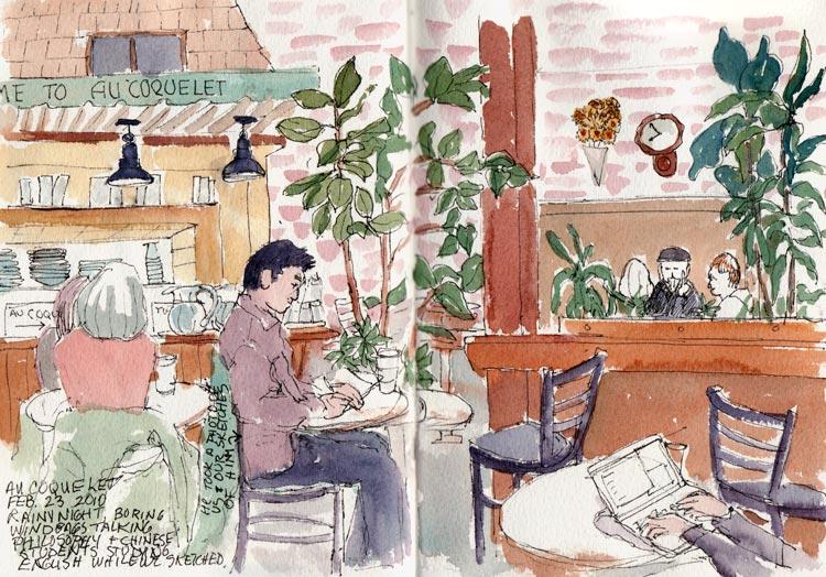 Au Coquelet, Ink & watercolor