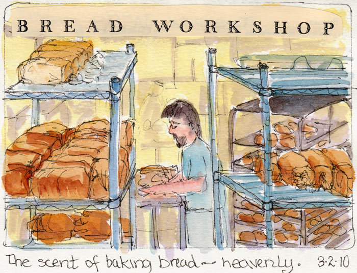 """Packing bread,"" ink & watercolor & collage"