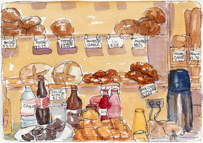 Bread and Snacks Counter, ink & watercolor