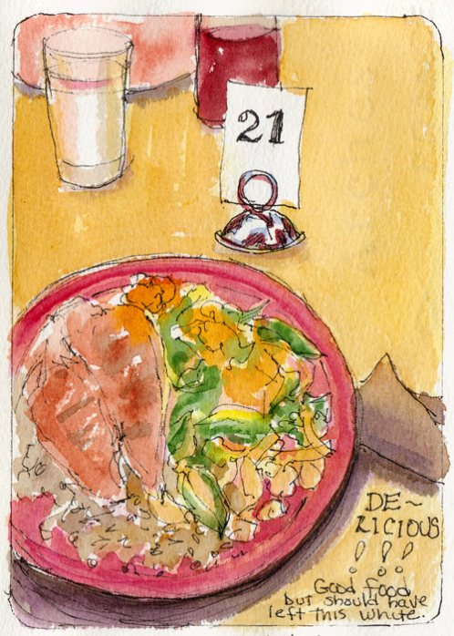 Dinner at Bread Workshop, ink & watercolor
