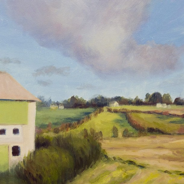 "Norway farm landscape painting, Acrylic, 9x12"""