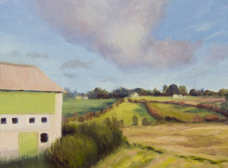 Norway farm landscape painting, Acrylic, 9x12""