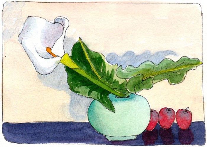 Cathy's Calla Display, ink & watercolor