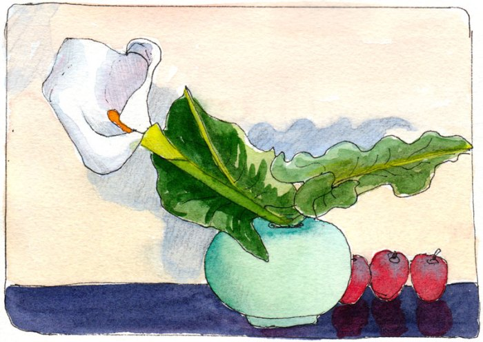 Cathy's Calla Display, ink & watercolor