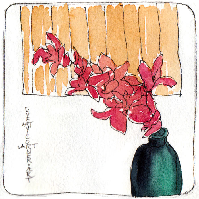 Orchid, 2 minute sketch, ink & watercolor