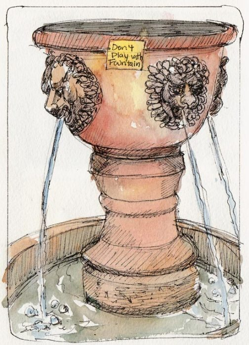Don't Play With the Fountain, ink and watercolor