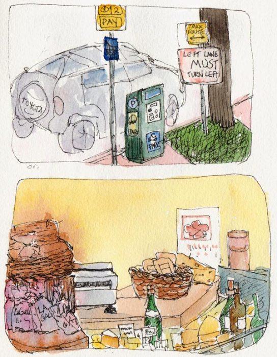 Parking at Northbrae and Ferrari Foods, Ink & Watercolor