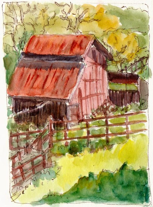 Borges Ranch Barn, Ink & watercolor, 7x5""