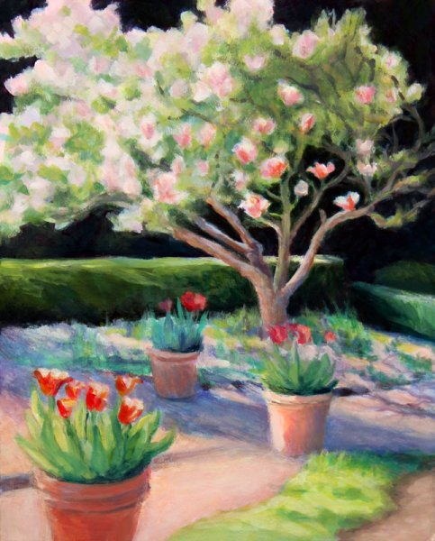 "Blake Tulips & Tulip Tree, Acrylic, 10x8"" on Gessobord"