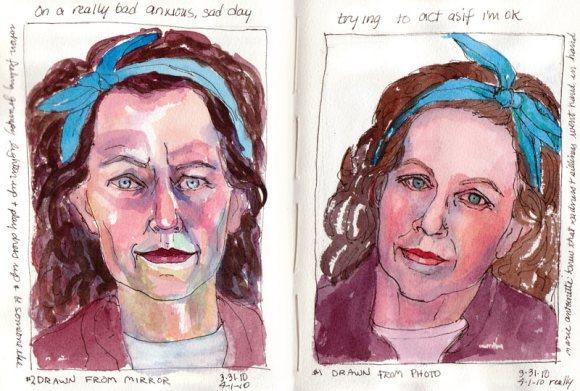 Tortured sketch (in mirror), Pretending sweetness (from photo)