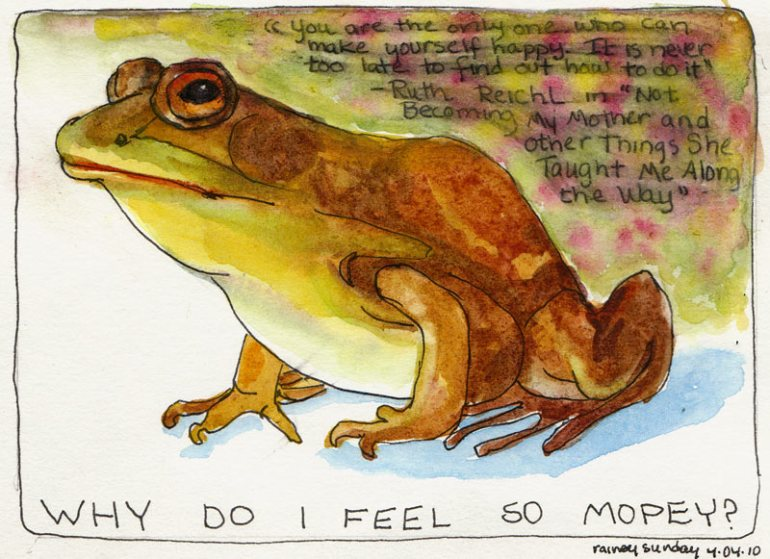 Frog, ink and watercolor