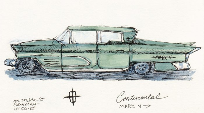 Continental Mark V, ink & watercolor