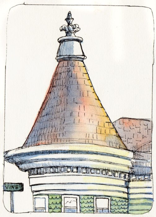 Vine Street Produce Store Roof, ink & watercolor