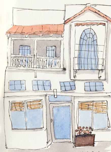 Vege Food Restaurant, Vine St.,  ink & watercolor