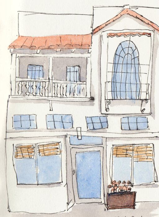 Vege Food Restaurant, Vine St.,  ink & watercolor