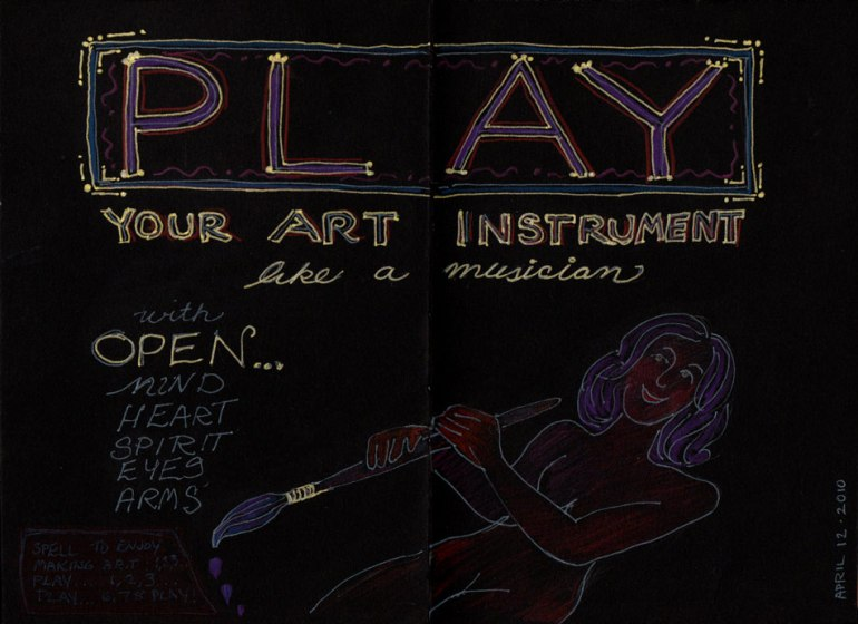 Play Your Art Instrument, gel pen and colored pencil