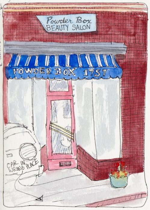Powder Box Beauty Salon, ink and watercolor