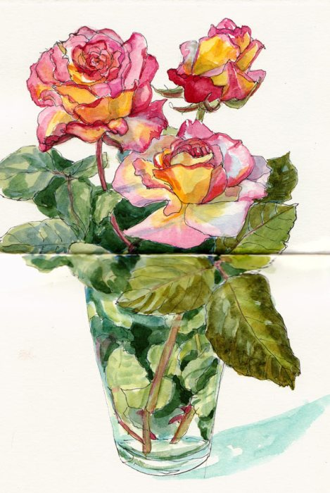 Irresistable Roses, ink & watercolor