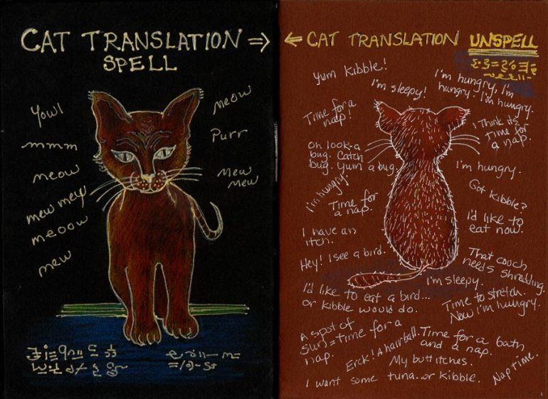 Cat Translation Spell, ink and colored pencil
