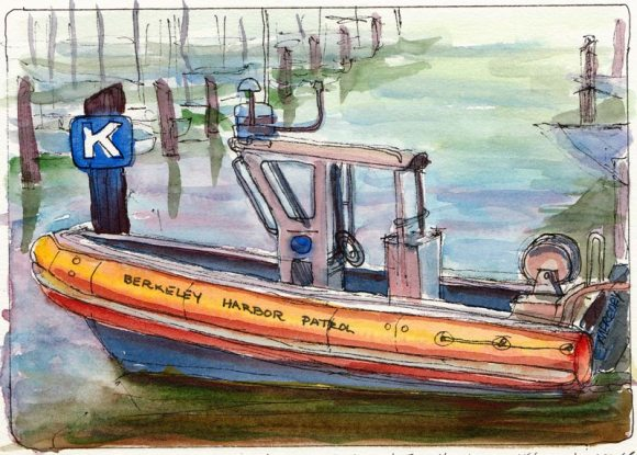 Berkeley Harbor Patrol, ink & watercolor