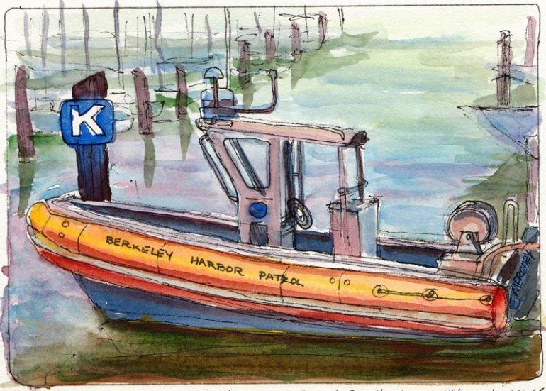 Berkeley Harbor Patrol, ink & watercolor