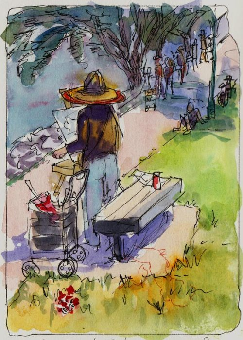 Sylvia Painting at Berkeley Marina, ink & watercolor
