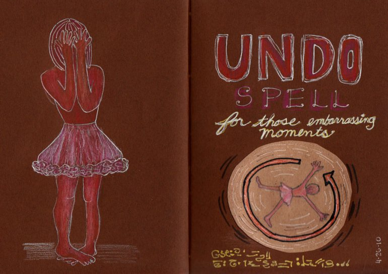 Undo Spell, Fake Journal; ink, colored pencil