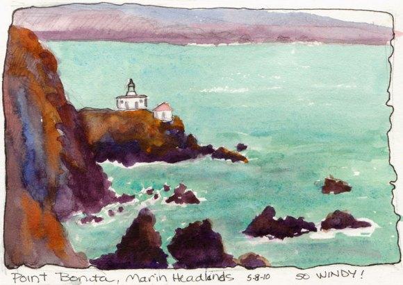 Pt. Bonita Lighthouse, Marin Headlands, watercolor