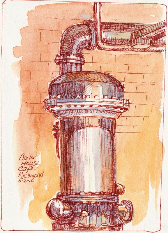 Boiler, Sanguine Ink & Watercolor