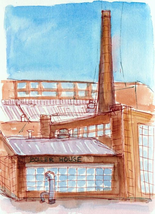 BoilerHouse Restaurant, ink & watercolor