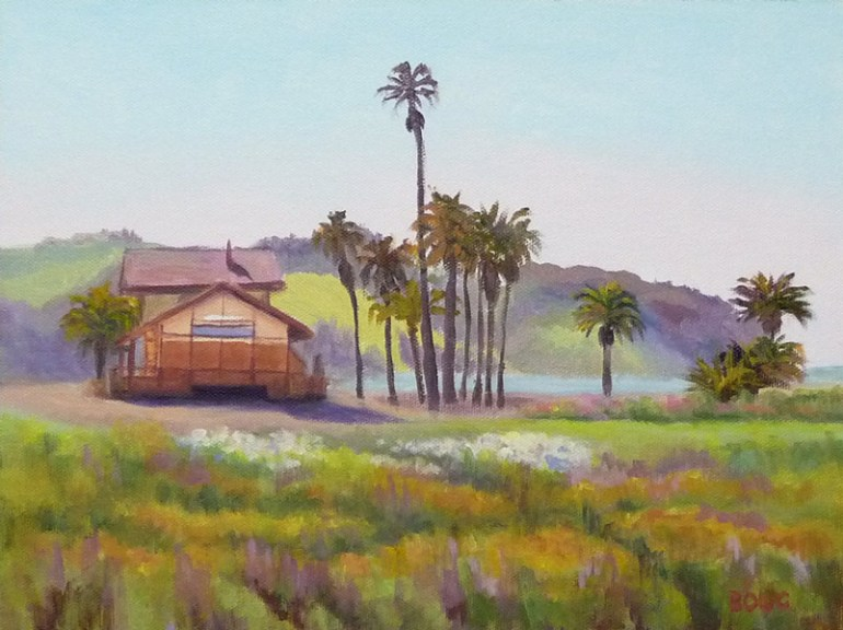 "Benicia Meadow and Train Station, 9x12"", Acrylic painting"