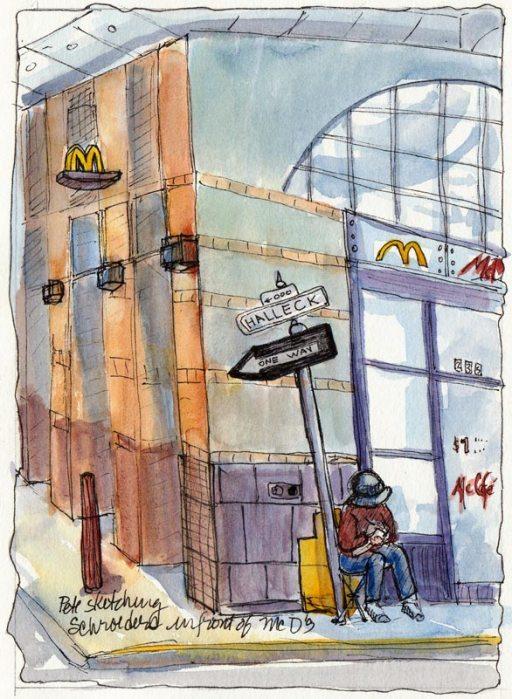 Pete Sketching in front of McDonalds