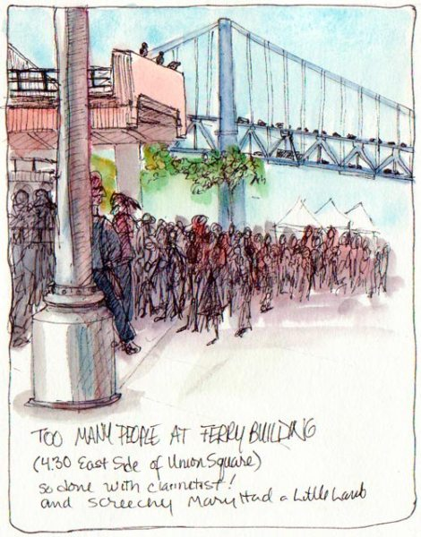 Waiting for Sketchcrawl to Start at Ferry Building, ink & watercolor