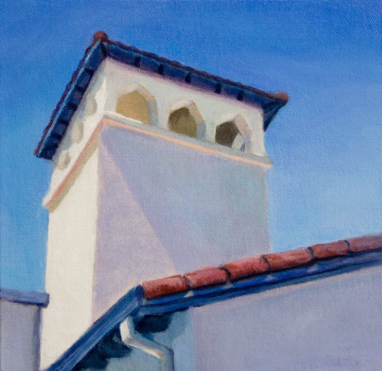 "Church on the Corner, Acrylic on canvas, 8""x8"""
