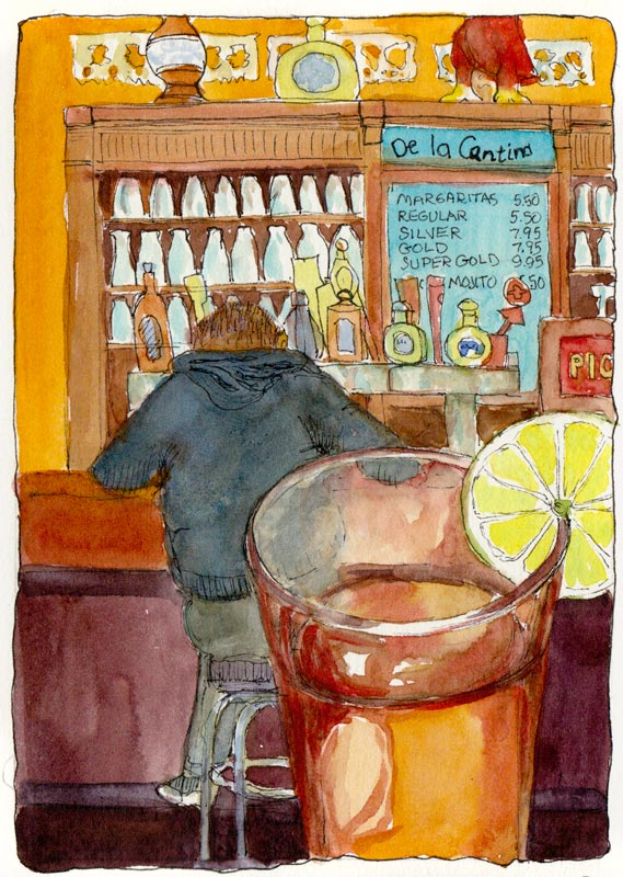 Picante Peach Iced Tea and Bar, ink & watercolor