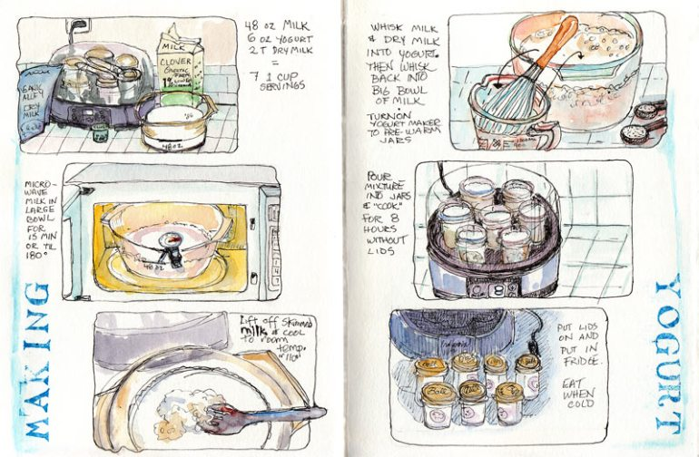 Making Yogurt, ink & watercolor
