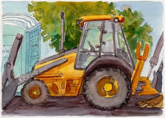 John Deere & Porta John, Ink & watercolor sketch of tractor