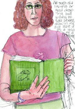 Self Portrait B-2, ink & watercolor