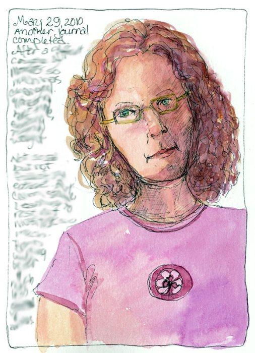 Self Portrait B-1, ink & watercolor