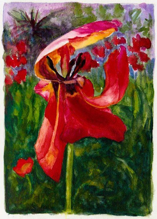 "Kaiser Hospital Tulip painting study, watercolor, 4.5"" x 6.5"""