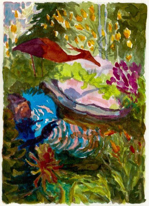 """Study for Kaiser Garden II, watercolor, 6.5"""" x 4.5"""""""
